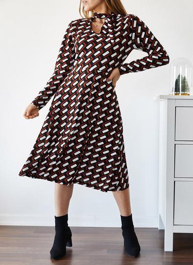 XHAN Boynu Bağlamalı Desenli Elbise 9Kxk6-43302-02 Renkli